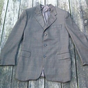 Canali Italy Cashmere Green Brown Plaid Blazer